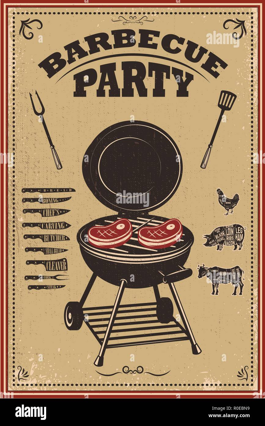 Grillparty Plakat. Barbecue und Grill. Design Element für ...