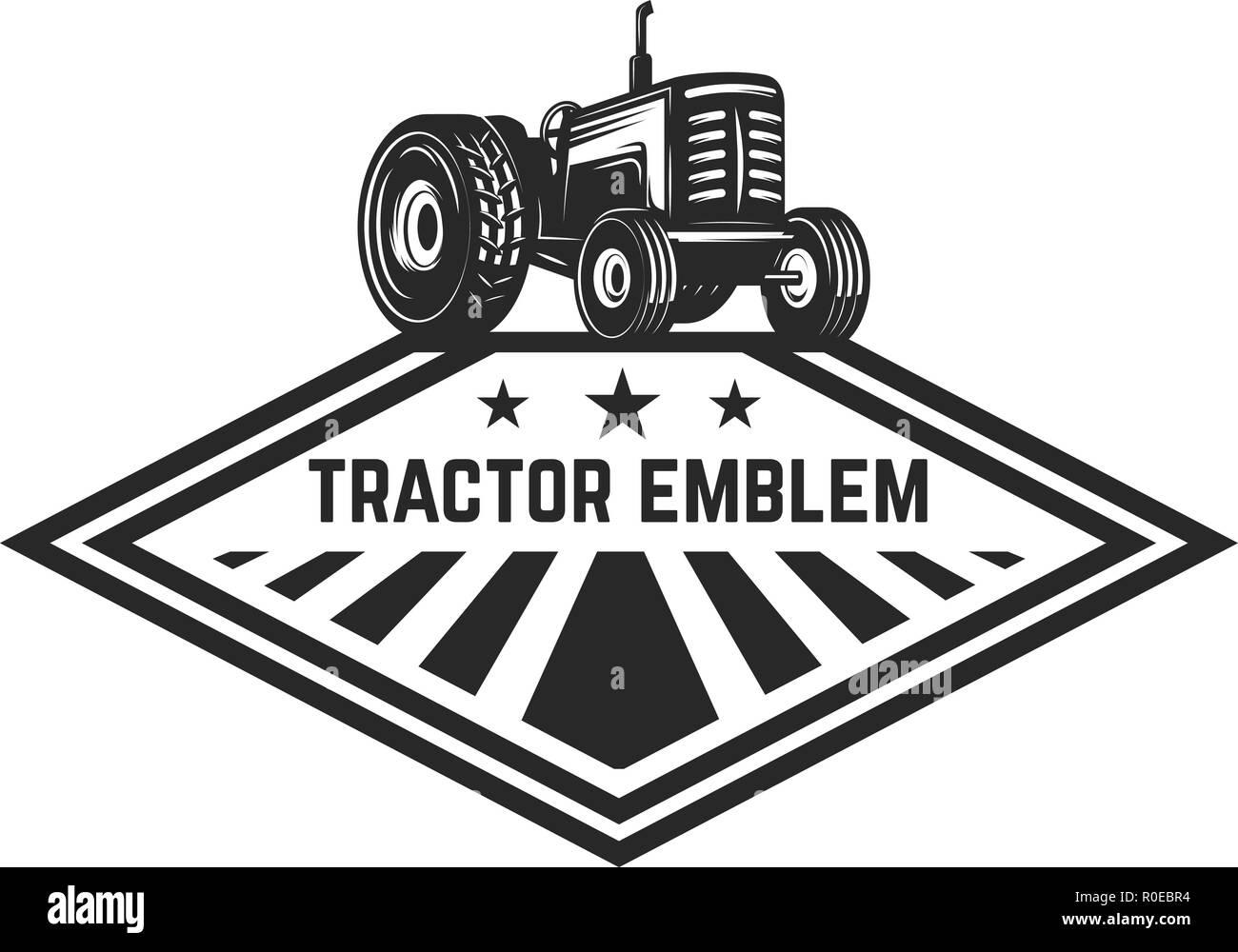 Farmers Market Emblem Vorlage Mit Traktor Design Element Fur Logo
