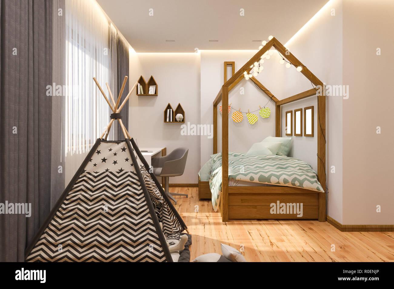 3D-Render Kinderspielzimmer und Schlafzimmer im skandinavischen Stil ...