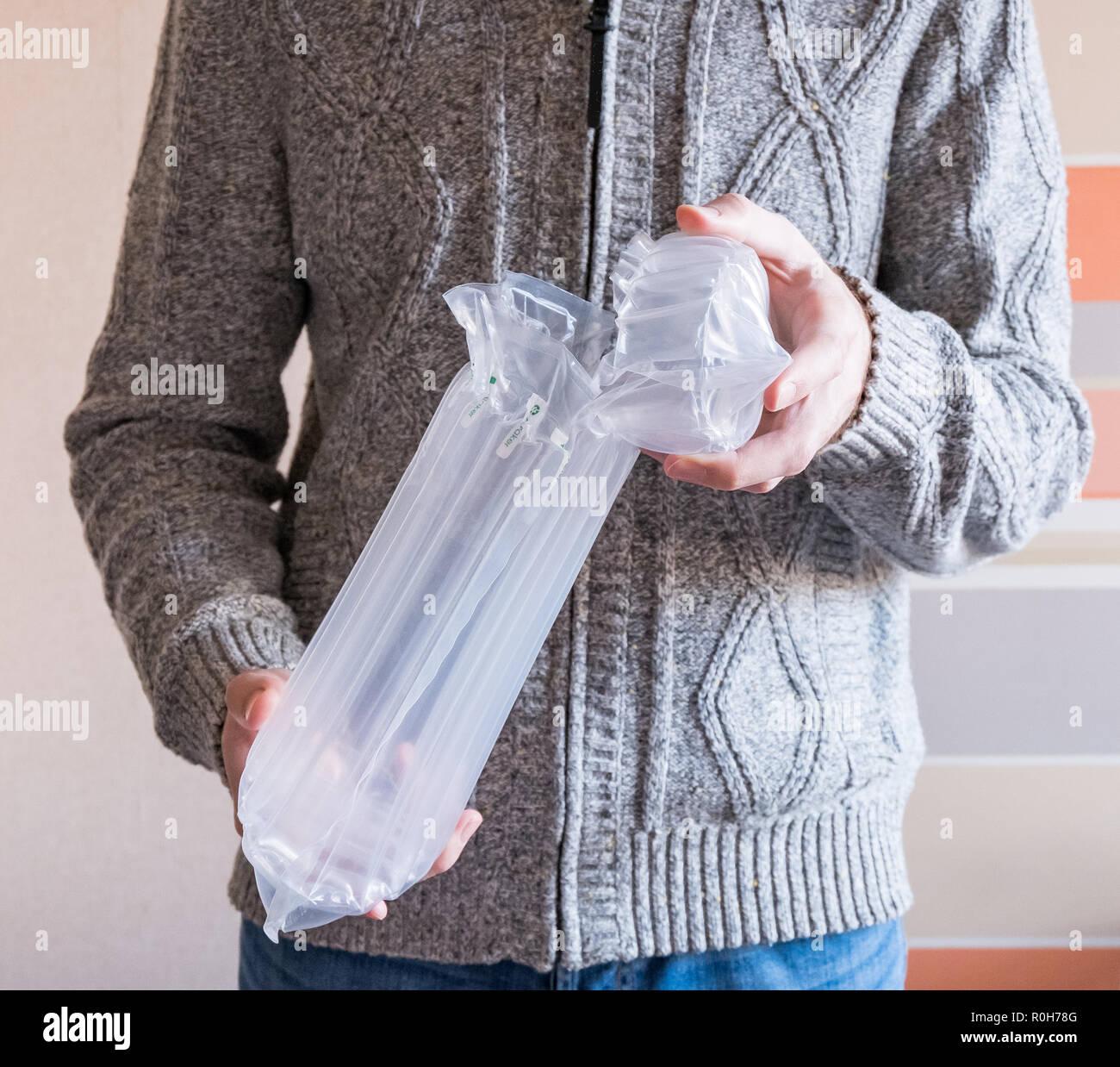 Transluzent, Verpackungen, Verpackungen aus Kunststoff Stockbild
