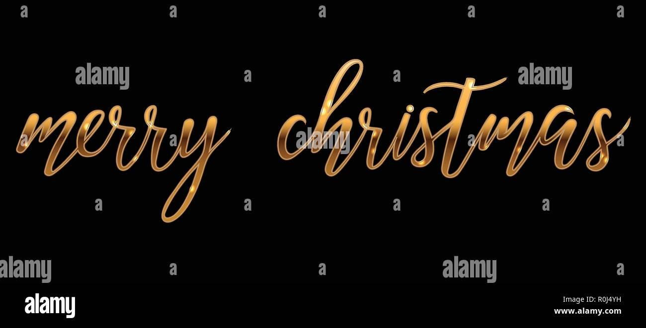 Frohe Weihnachten Text Karte.Vektor Gold Hell Frohe Weihnachten Pinsel Schriftzug Text