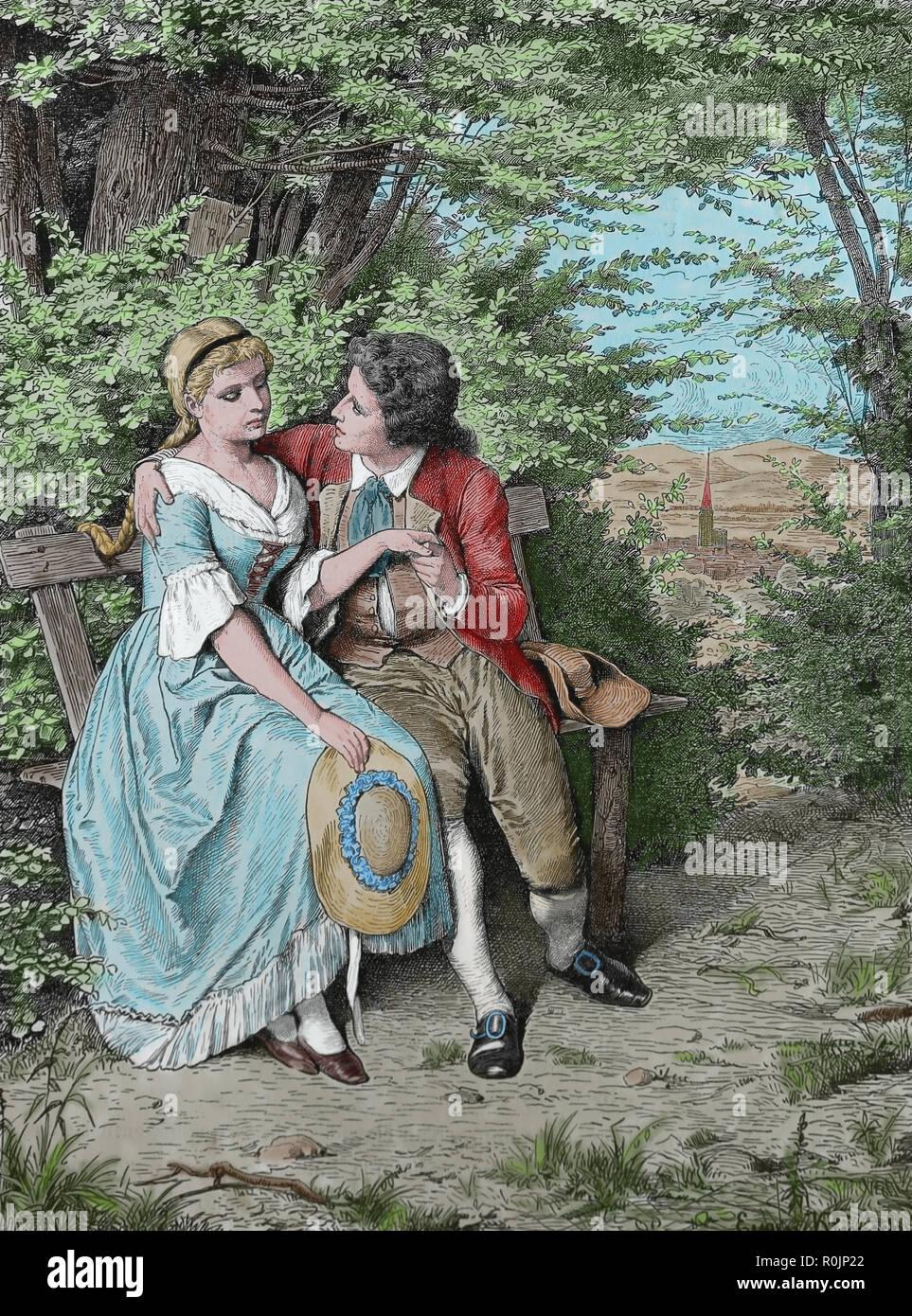 Deutsche Schriftsteller Johann Wolfgang von Goethe (1749-1832) Friederike Brion (1752-1813). Engravin der Germania, 1882. Stockbild