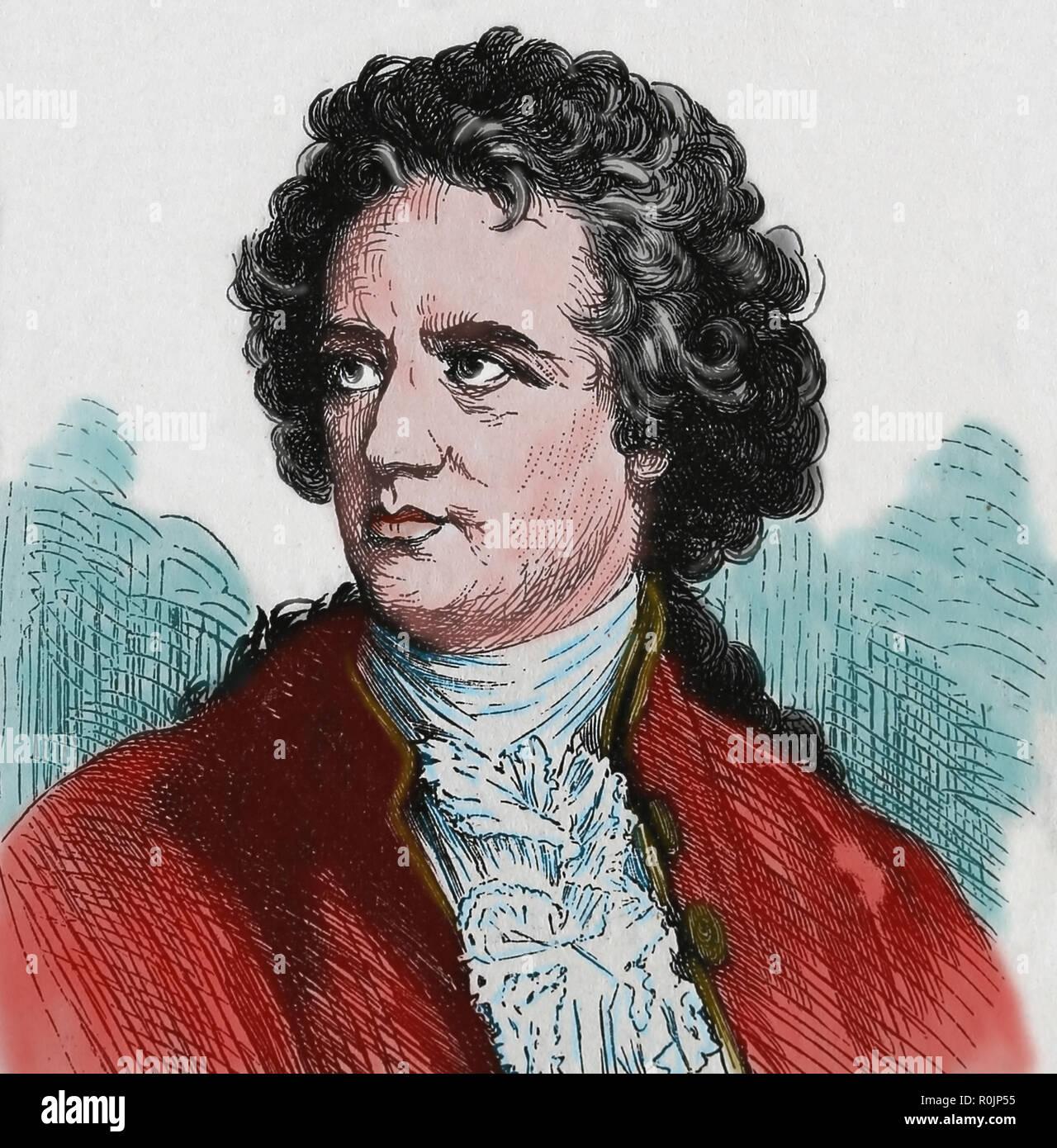 Johann Wolfgang von Goethe (1749-1832). Deutsche Schriftsteller. Gravur der Germania, 1882. Stockbild
