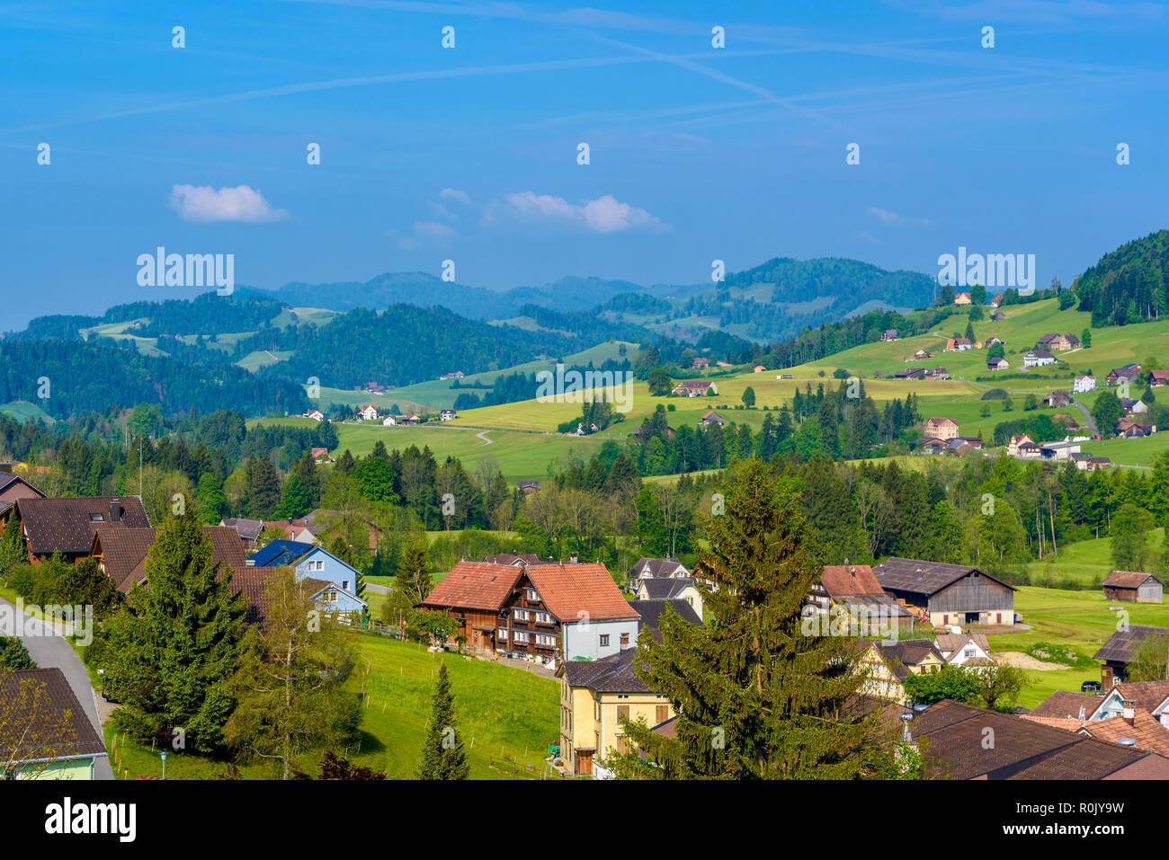 Dorf Schoenengrund, Hinterland Appenzell Ausserrhoden Schweiz Stockbild