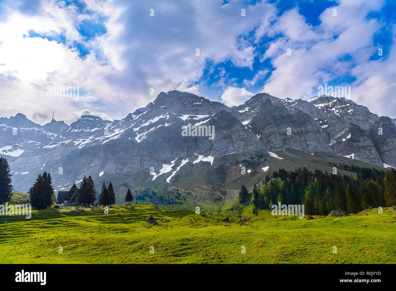 Alpen Berge und Felder, Schoenengrund, Hinterland, Appenzell Ausserrhoden Schweiz Stockbild