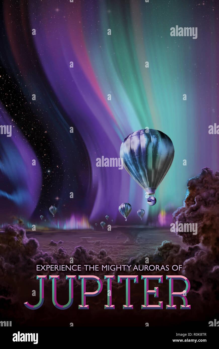 Retro Space Travel Poster des glühenden Polarlichter auf dem Planeten Jupiter. Stockfoto