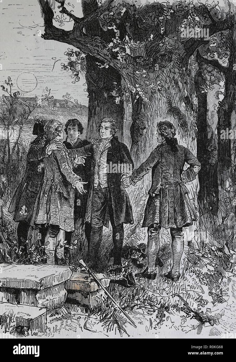 Grove Liga von Göttingen. Deutsche literarische Gruppe. 24:00 Stiftung in einem Eichenholz Grove, 12. September 1772. Stockbild