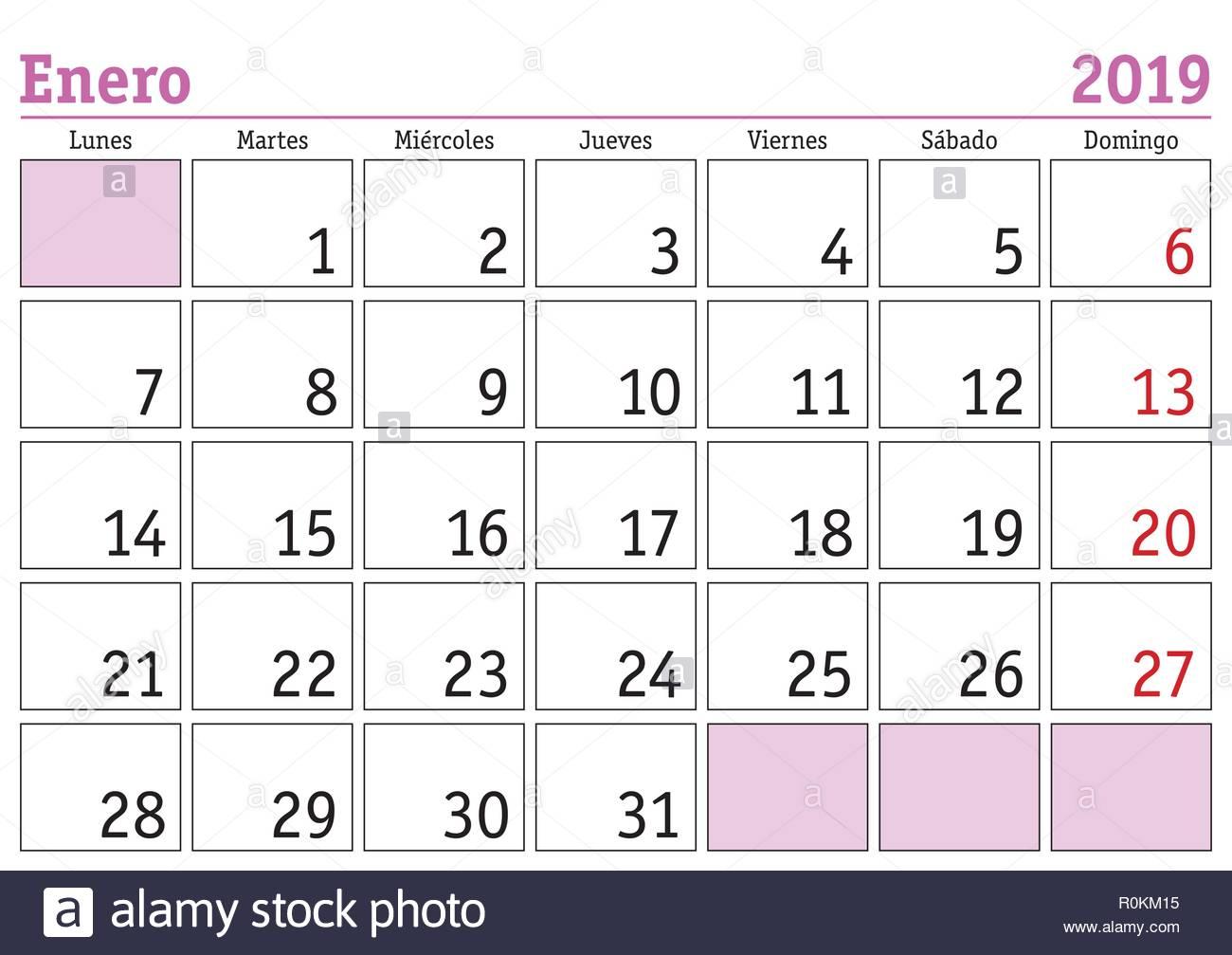 Januar Monat In Einem Jahr 2019 Wandkalender In Spanisch Enero 2019