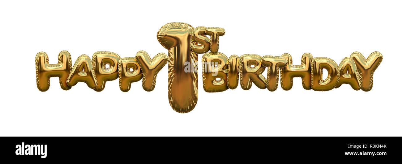 Glucklich 1 Geburtstag Gold Folie Ballon Gruss Hintergrund 3d