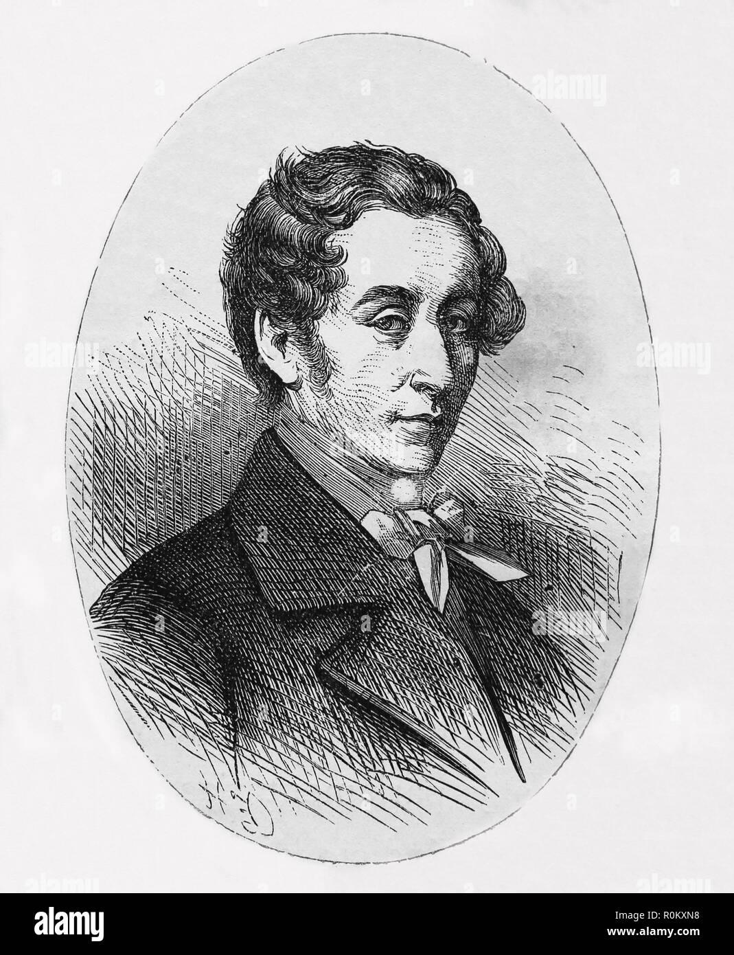 Carl Maria von Weber (1786-1826). Deutsche Komponist, Dirigent, Pianist. Romantik. Gravur, 1882. Stockbild