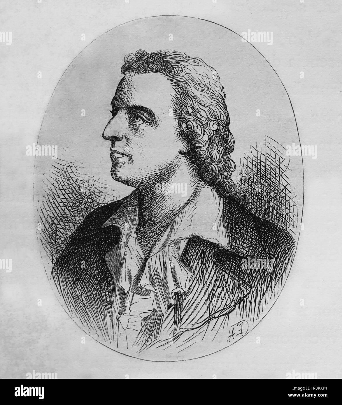 Friedrich Schiller (1759-1805). Deutsche Schriftsteller. Mitglied der Weimarer Klassik. Gravur der Germania, 1882. Stockbild