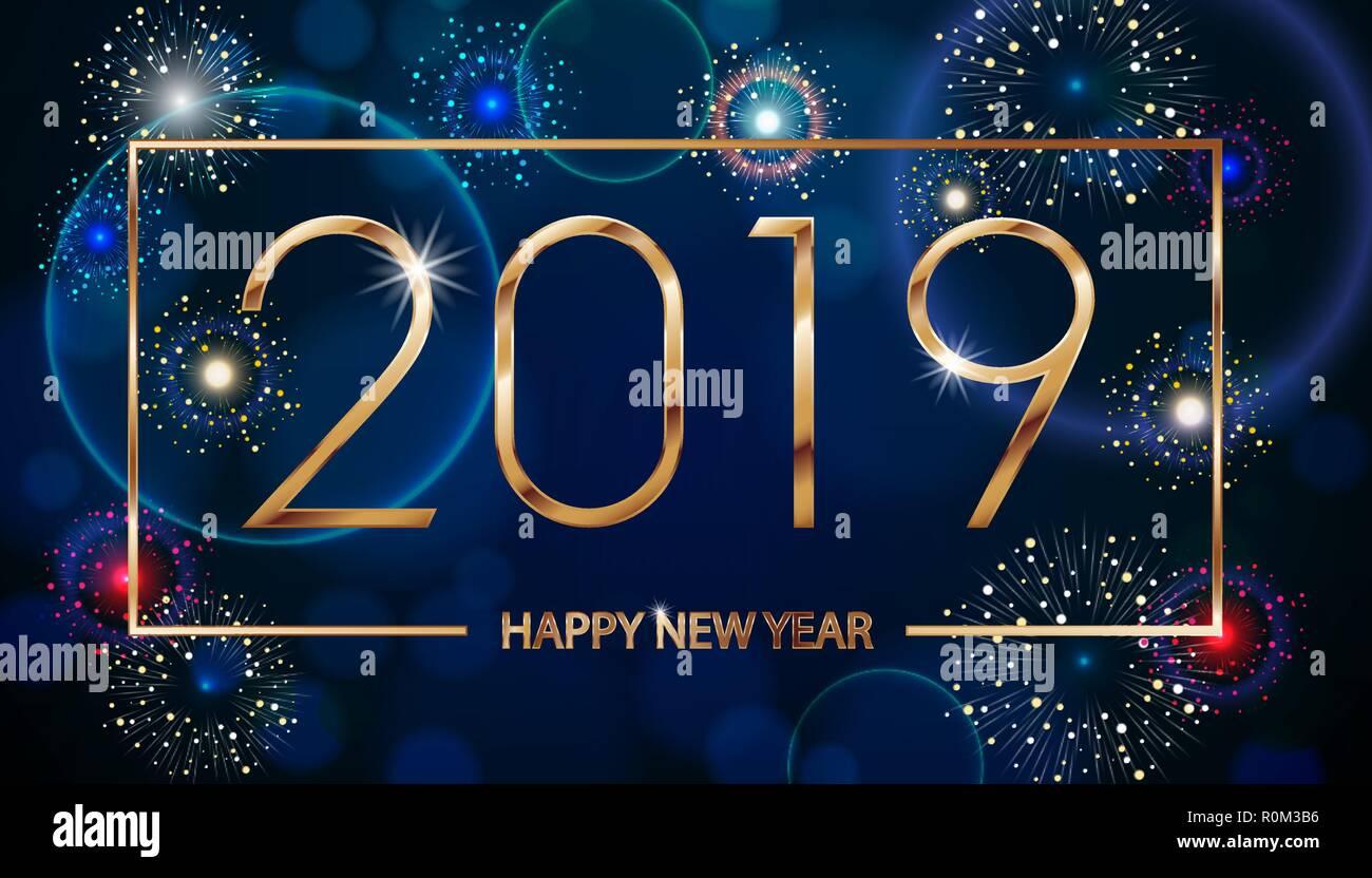 Vektor Urlaub Feuerwerk Hintergrund. Frohes Neues Jahr 2019. Seasons ...