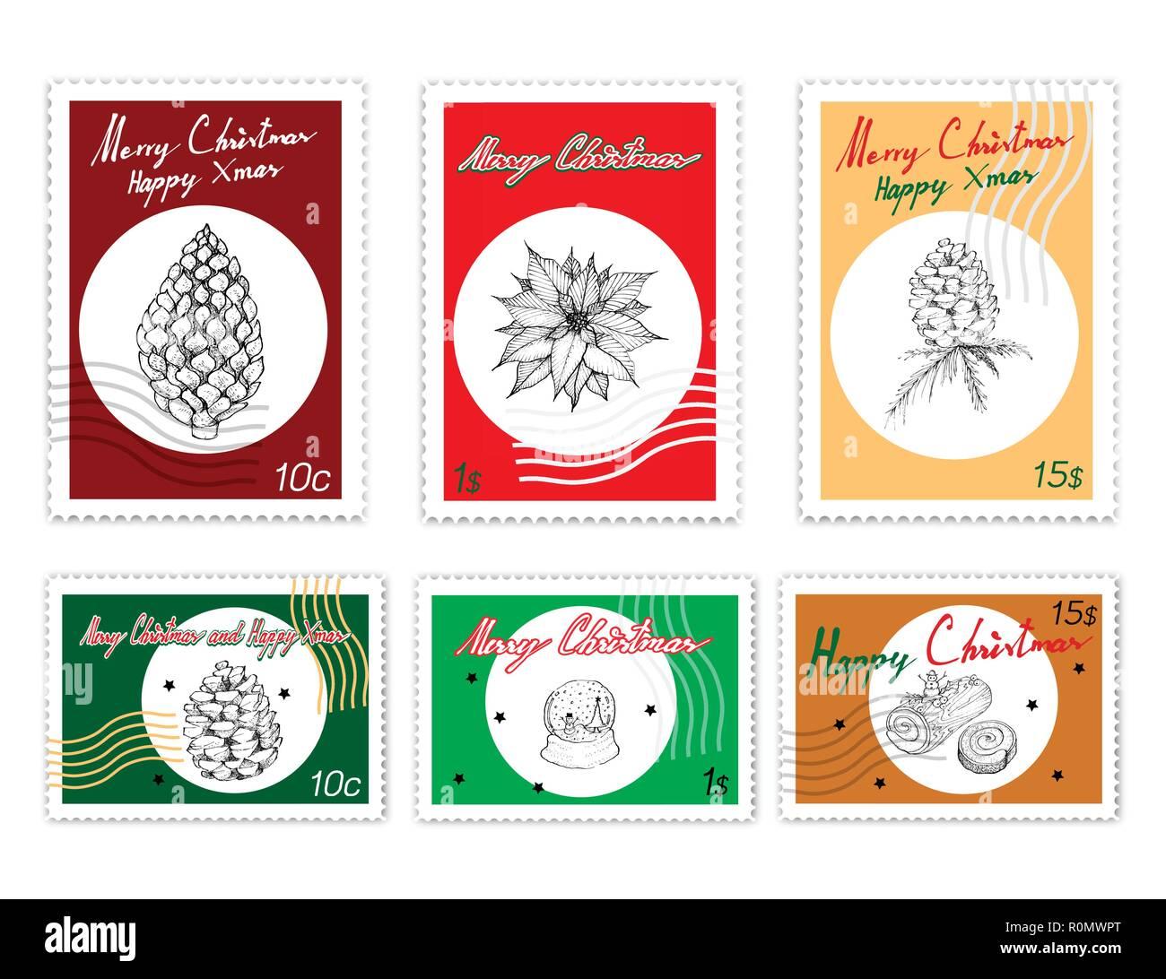 Merry Xmas Post Briefmarken Satz Abbildung Hand Gezeichnete Skizze
