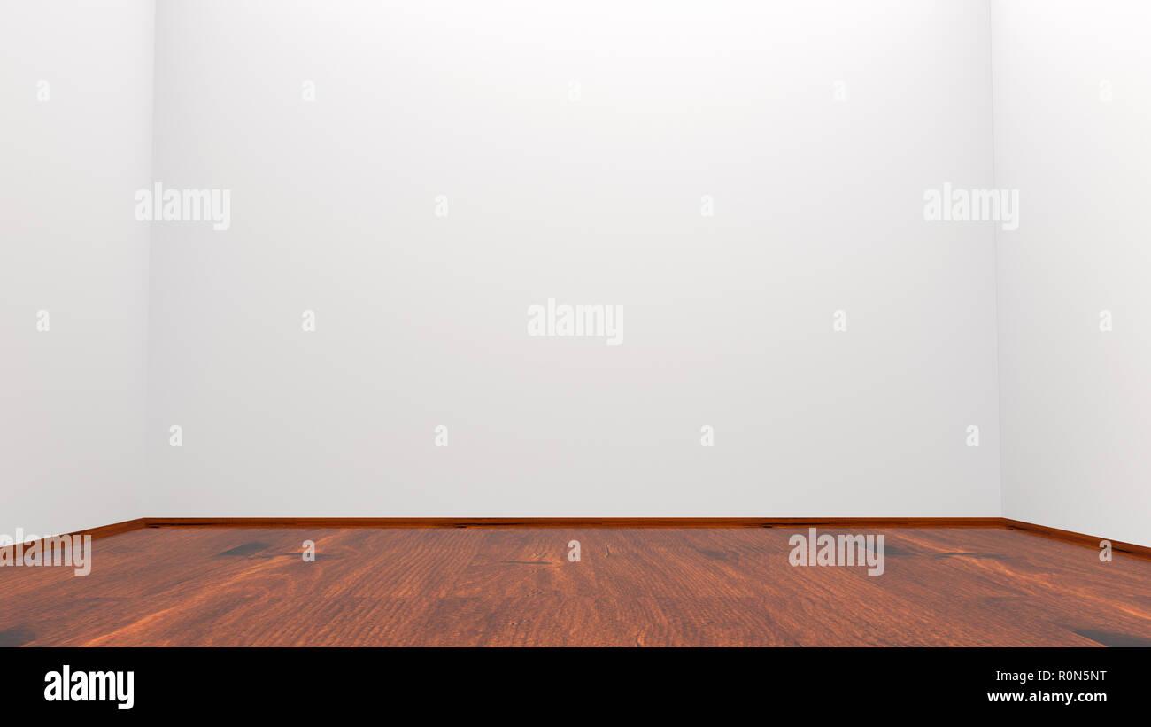 Grauen Wänden Und Holzfußboden Leeren Raum 3d Rendering Stockfoto