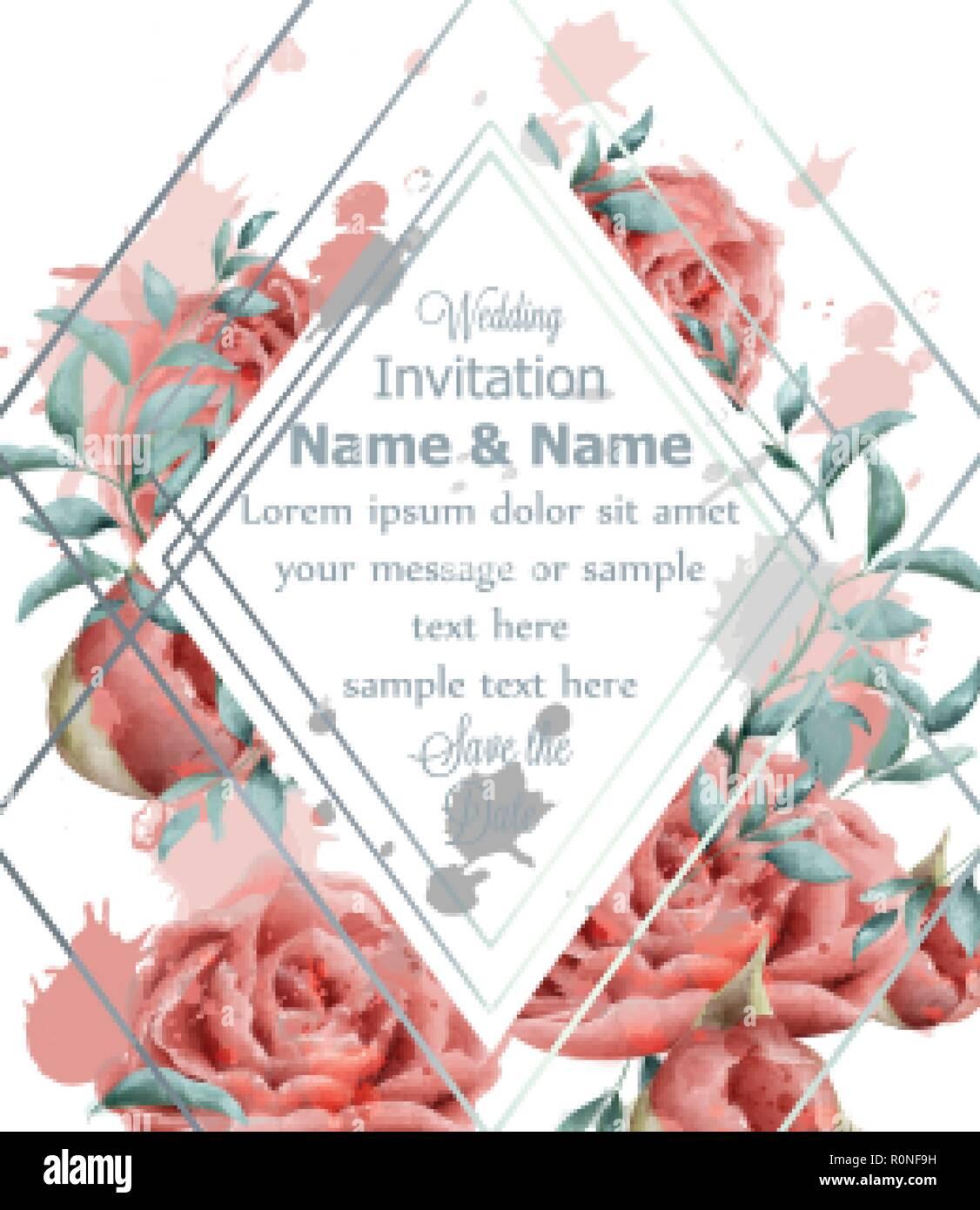 Hochzeit Einladungskarte Mit Rosen Blumen Aquarell Vektor Schone