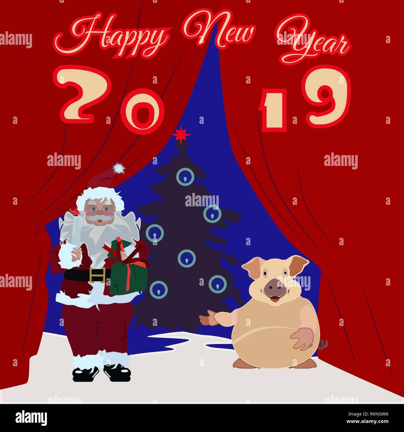 Chinesisches Neues Jahr Poster, Grußkarten mit Erde Schwein, Santa ...