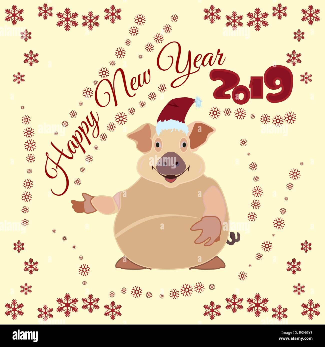 Chinesisches Neues Jahr Poster, Grußkarten mit Erde Schwein Vektor ...