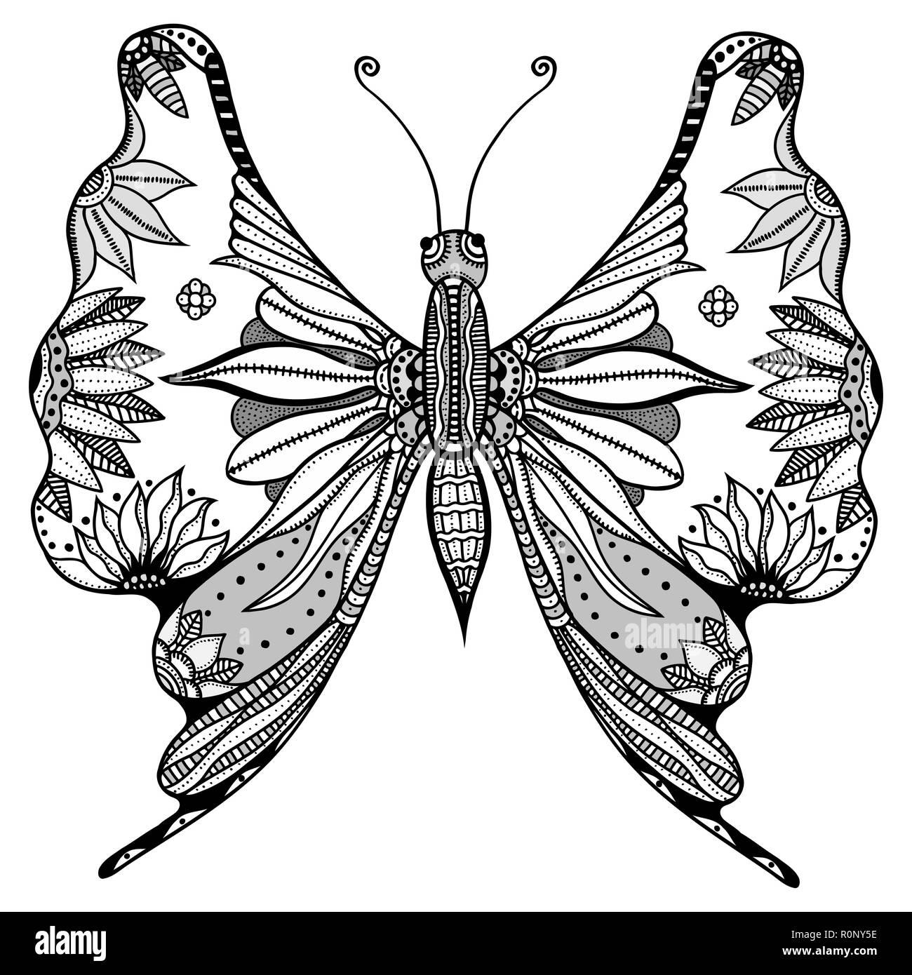 Zentangle Stilisierten Schmetterling Schwarz Weiß Hand Gezeichnet