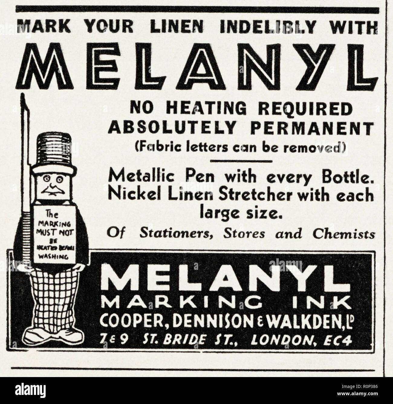 1930er Jahre Alten Vintage Original Advert Werbung Melanyl Tinte