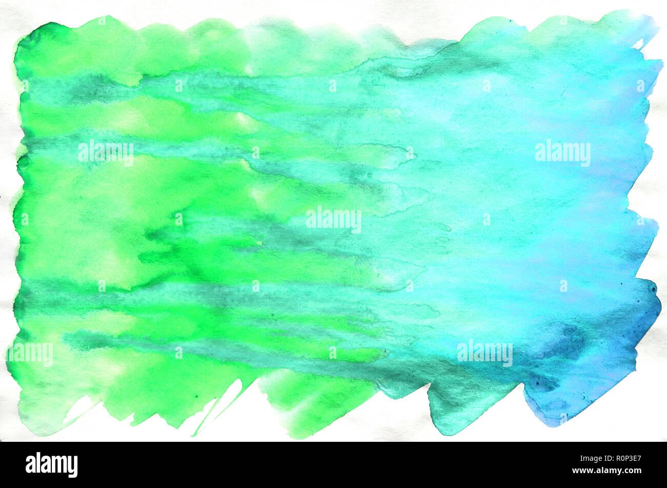 Bunte Blau Grun Turkis Aquarell Nassen Pinsel Malen Flussigkeit