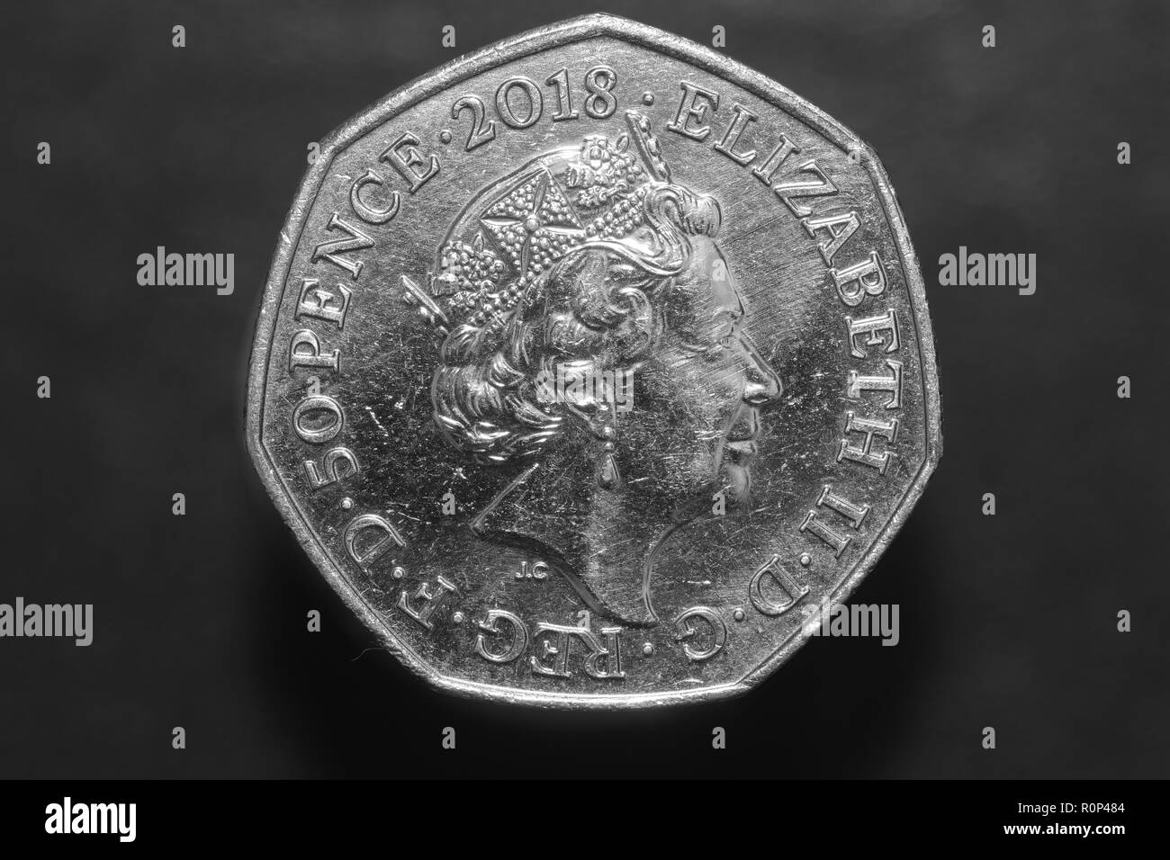 Ein 2018 Royal Mint Paddington Bear 50 Pence Münze Stockfoto Bild
