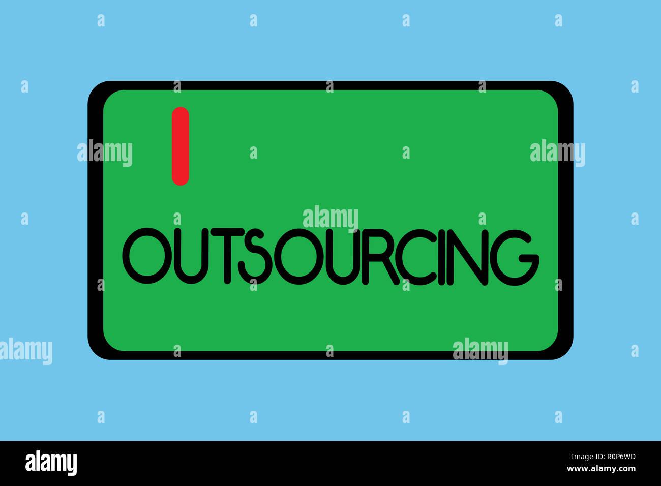 Handschrift Text Schreiben Outsourcing Konzept Bedeutung Erhalten