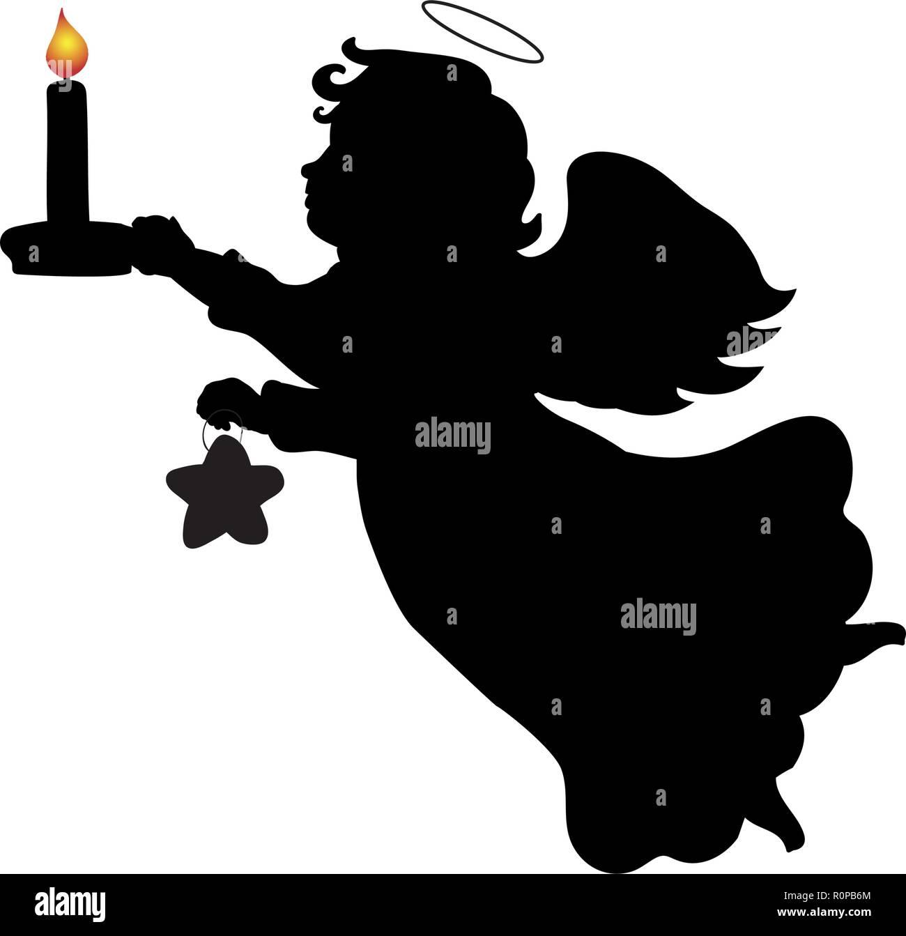Silhouette Weihnachten Engel Kerze star Vektor Abbildung - Bild ...