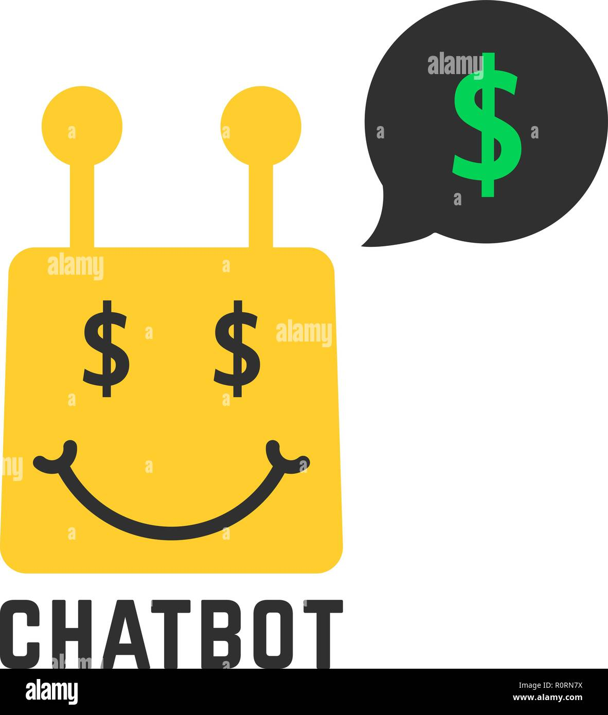 Reich gelb chatbot Symbol Stock Vektor