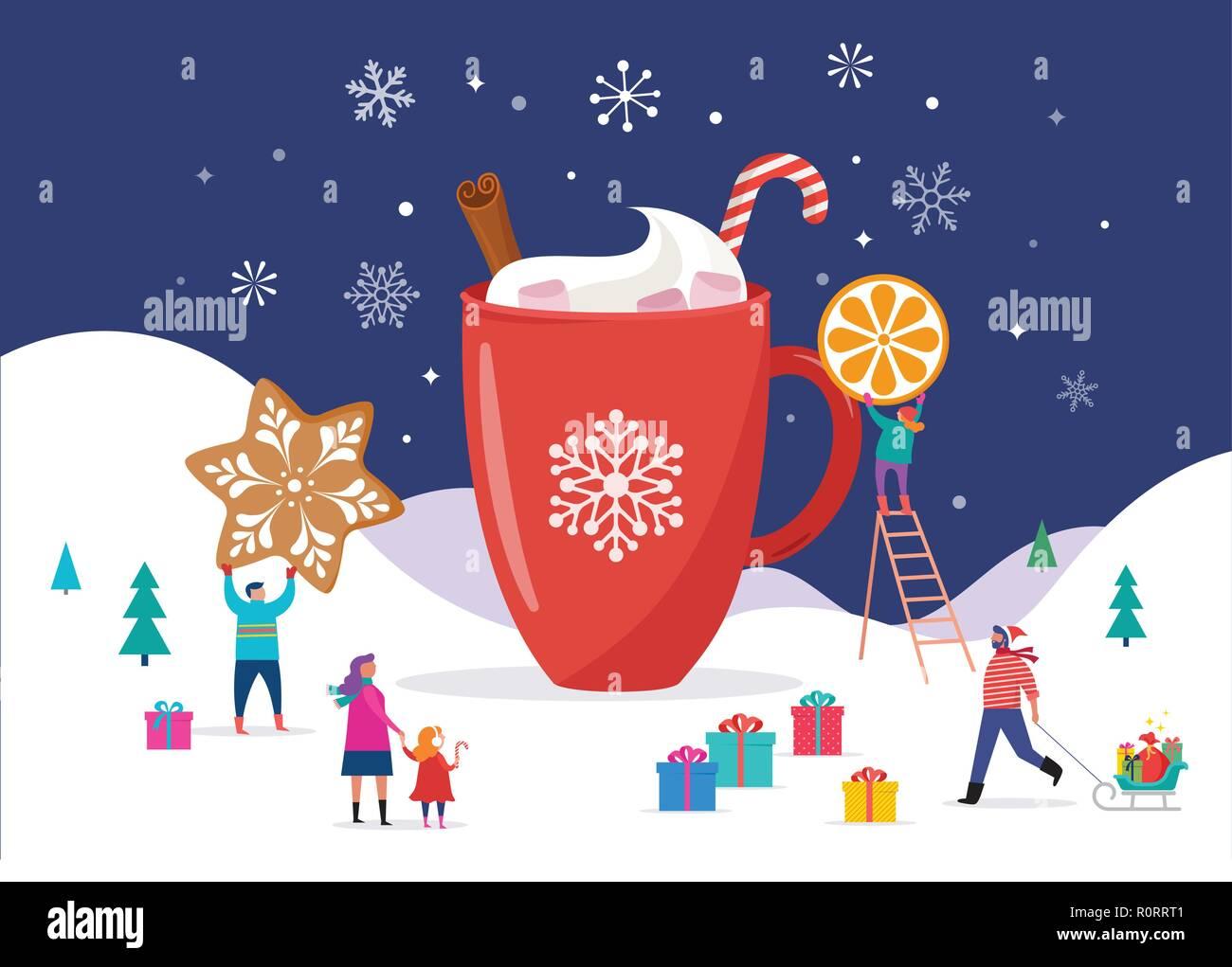 Frohe Weihnachten Männer Bilder.Frohe Weihnachten Winter Szene Mit Einer Großen Tasse Kakao Und