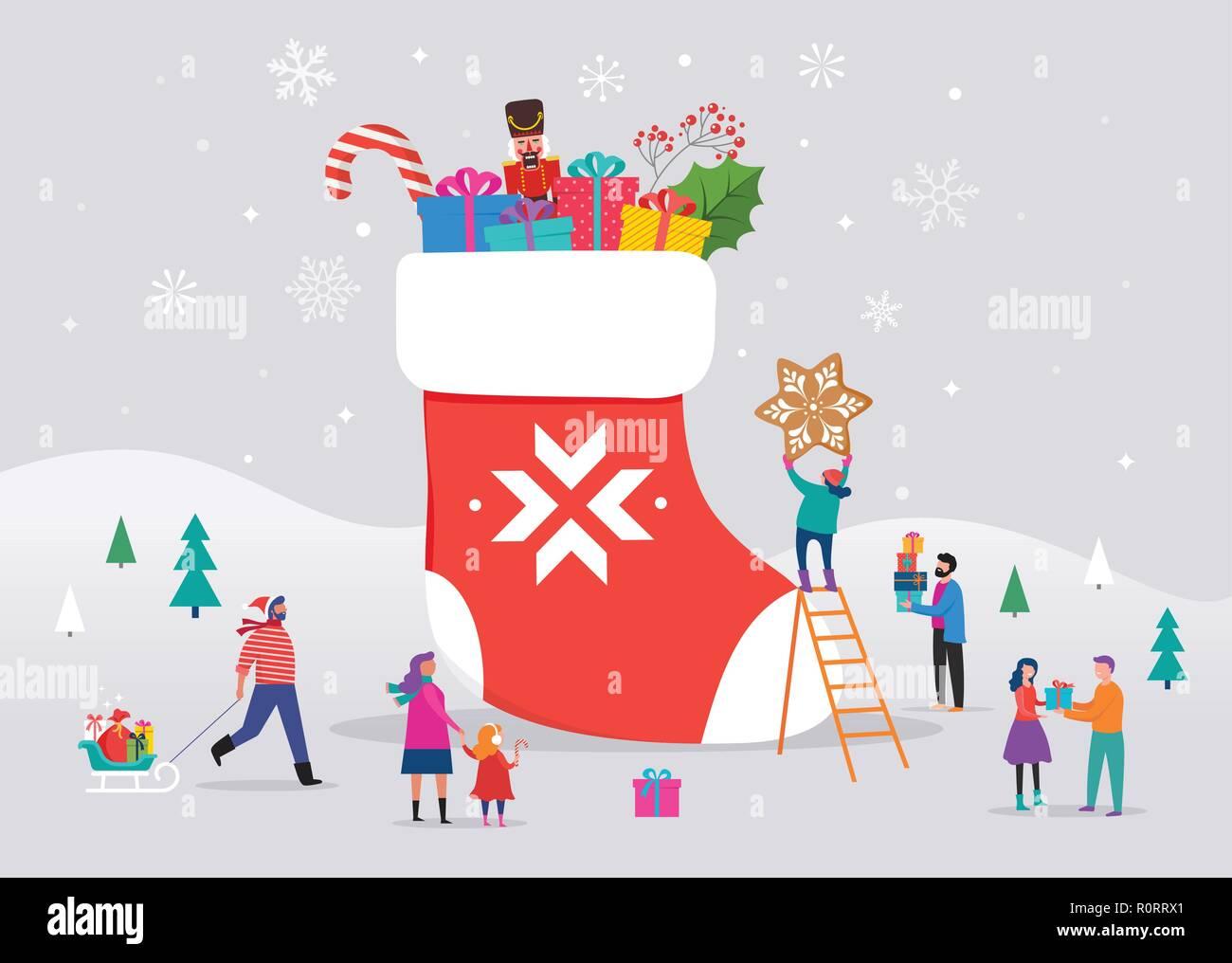 Frohe Weihnachten Männer Bilder.Frohe Weihnachten Winter Szene Mit Einem Großen Roten Socke Mit