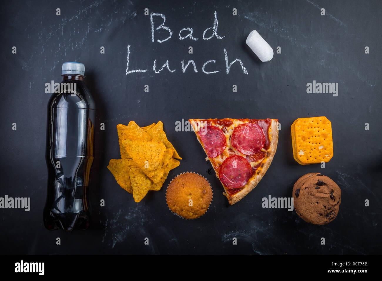 Ungesunde Schule Mittagessen Stockbild