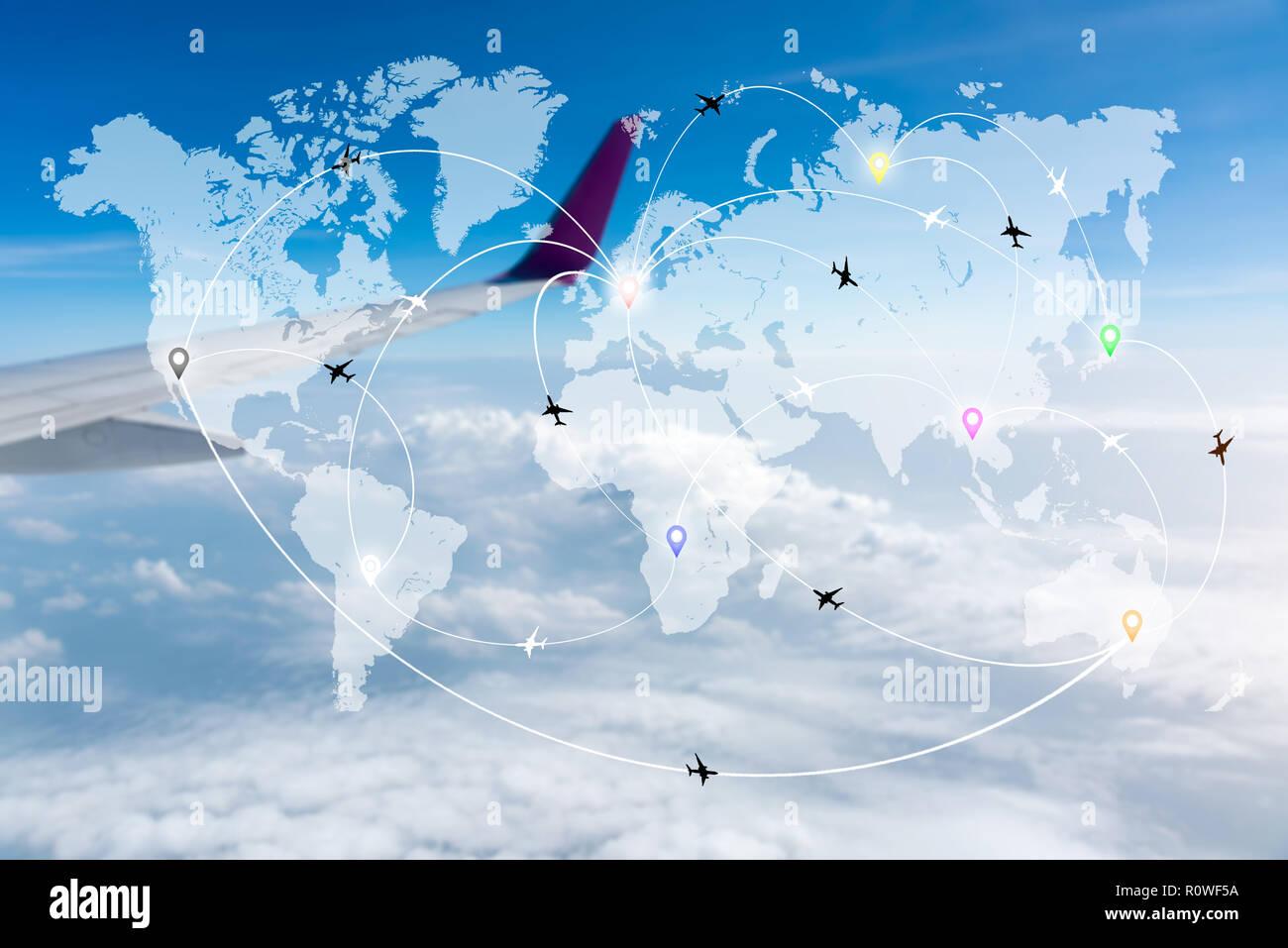Flugrouten Karte.Karte Von Flugrouten Flugzeuge Netzwerk Mit Unscharfen