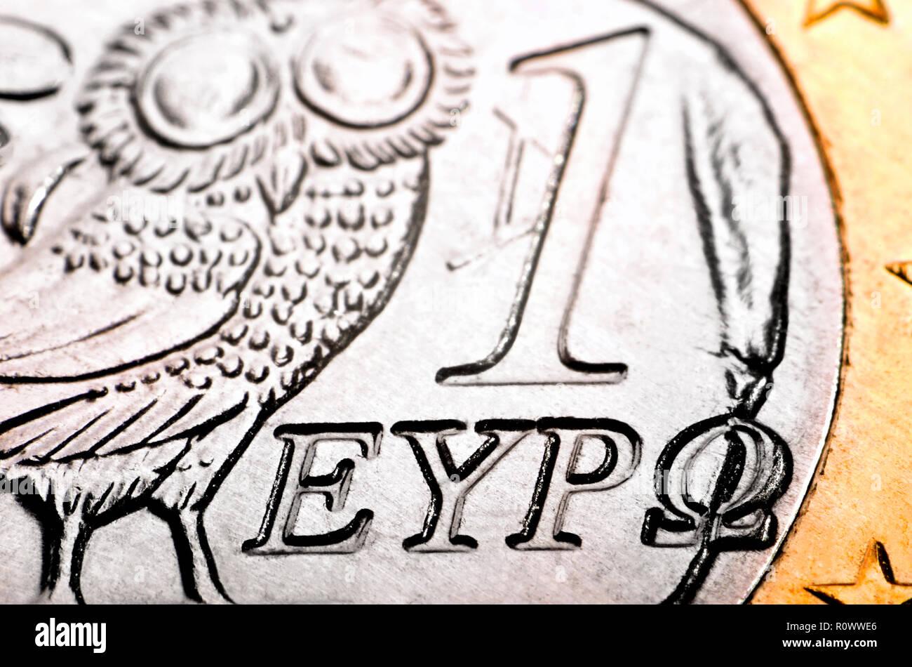 Griechische 1 Euro Münze Stockfotos Griechische 1 Euro Münze