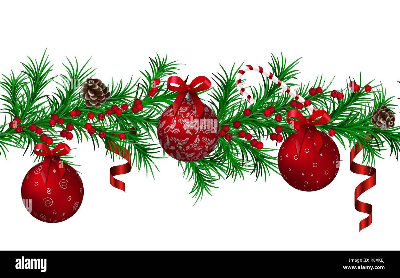 Weihnachtsbaum Girlande.Weihnachtsbaum Girlande Nahtlose Muster Rot Metallic Glänzende