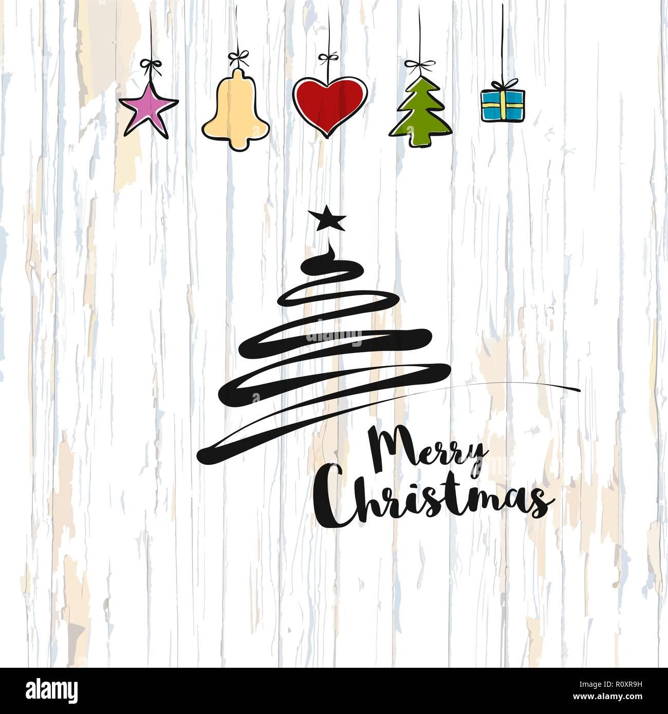 Weihnachten Skizze auf Holz- Hintergrund. Vector Illustration von ...