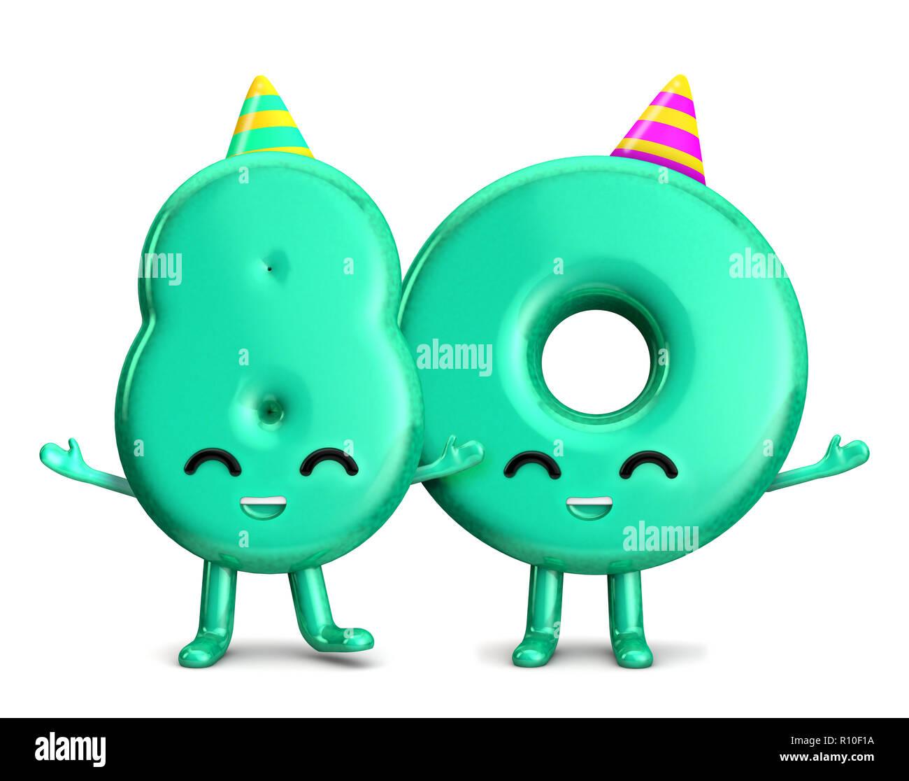 Happy 80th Birthday Niedlichen Charakter Mit Hut 3d Rendering