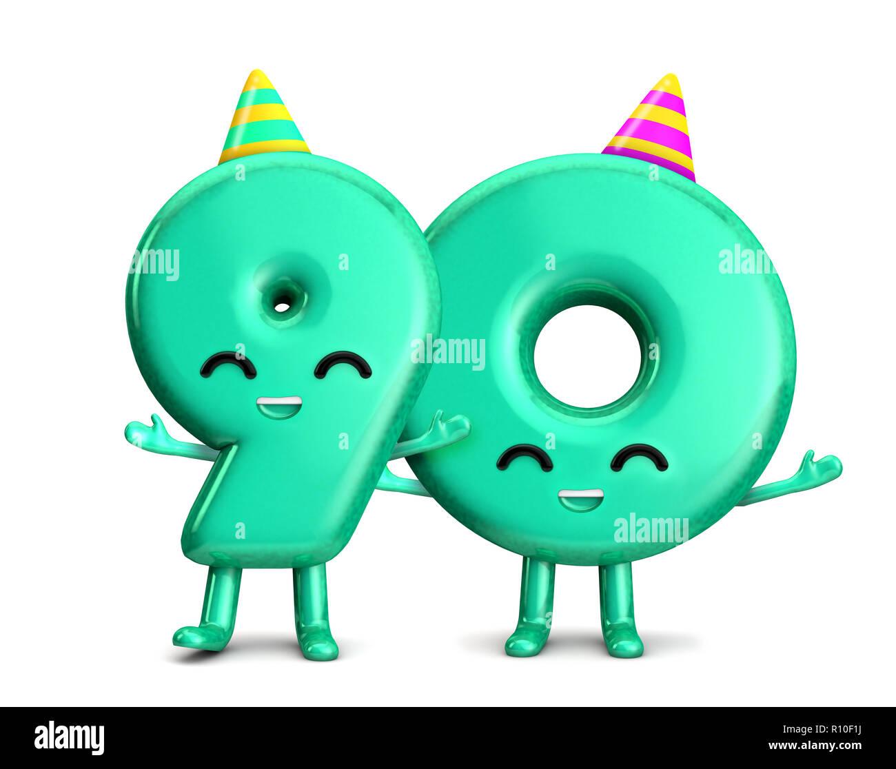 Happy 90th Birthday Niedlichen Charakter Mit Hut 3D Rendering