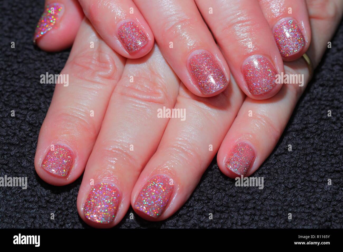 Glitter Gel Polish Fingernagel Nur Durch Einen Nagel Techniker
