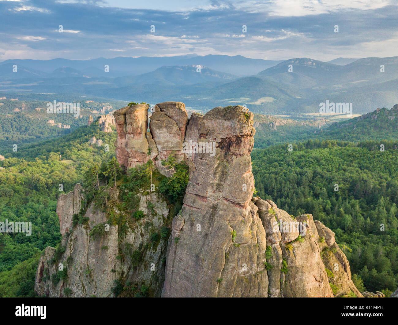 Erstaunliches Naturphänomen - belogradchik Felsen - Luftaufnahmen von diesem schönen Felsformationen, beliebtes Reiseziel Stockbild