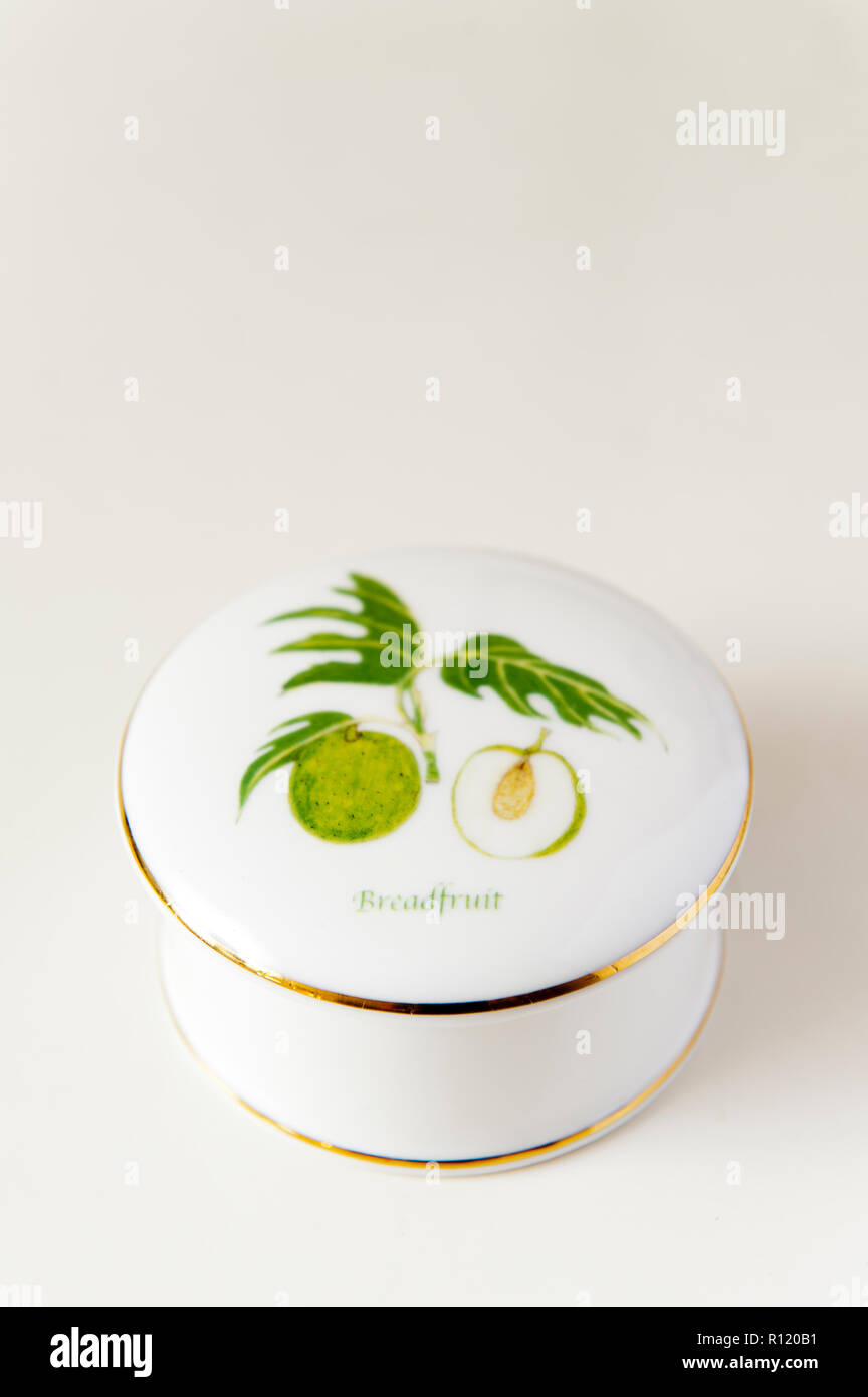 Brotfrucht malte auf Schüssel mit Deckel Stockbild