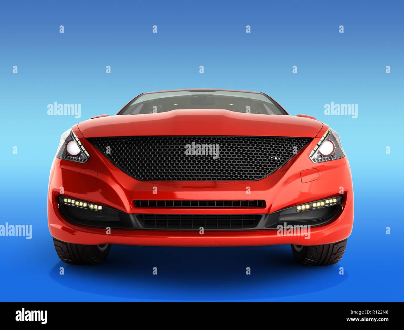 Rotes Auto Vorderansicht 3D-Render auf Farbübergang Stockbild