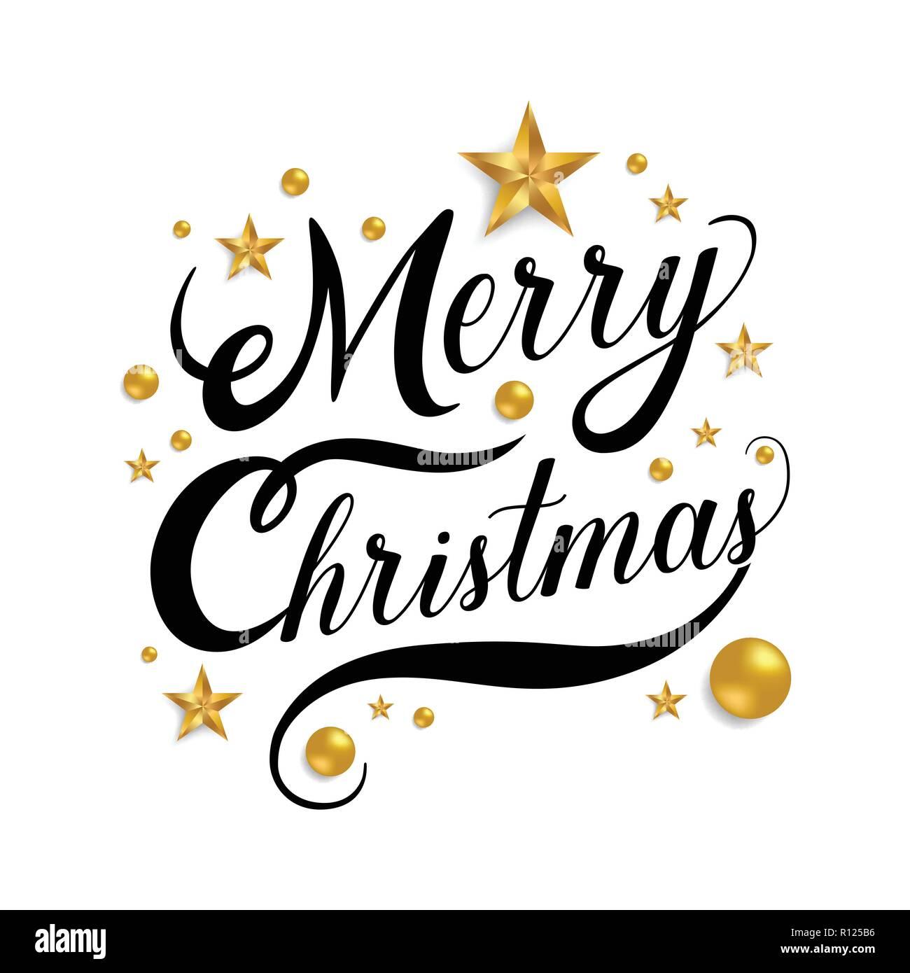 Stern Frohe Weihnachten.Frohe Weihnachten Hand Gezeichnet Schriftzug Mit Goldenen