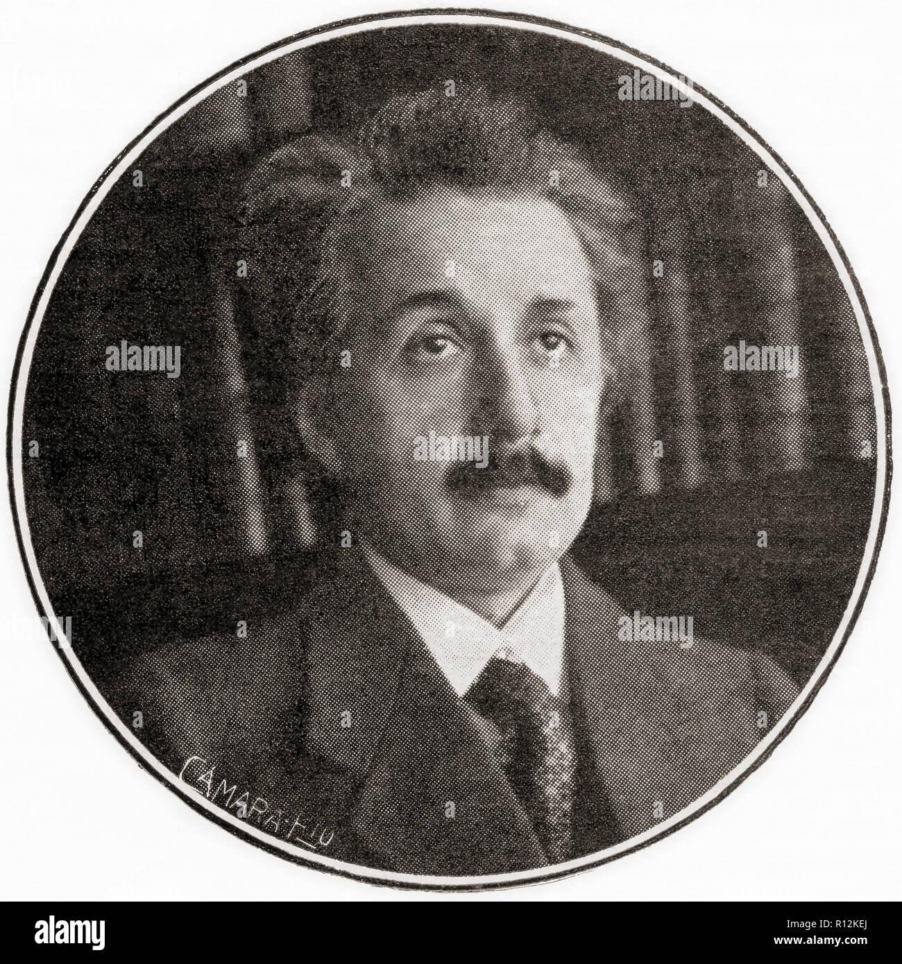 Albert Einstein, 1879 - 1955. In Deutschland geborene theoretische Physiker, Nobelpreisträger 1921 in Physik. Von La Esfera, veröffentlicht 1921. Stockfoto