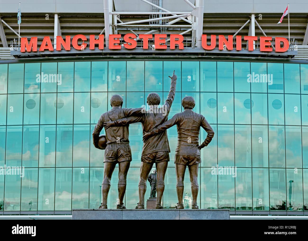 Das Old Trafford Stadium, die Heimat von Manchester United Football Club, England, Vereinigtes Königreich Stockbild