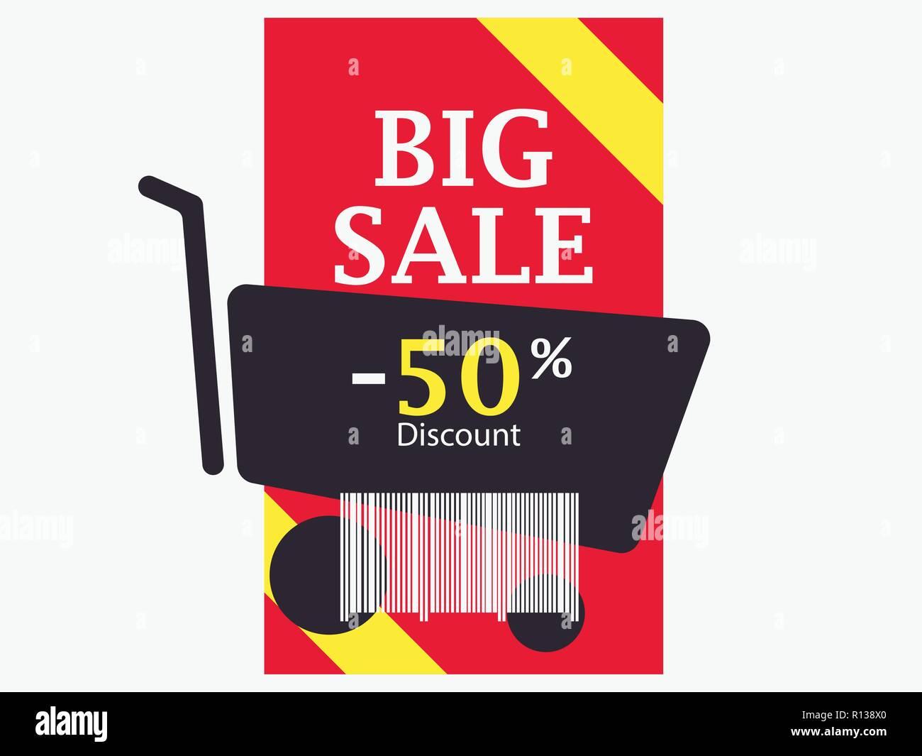 2e268c68030c01 Big Sale mit 50 Prozent Rabatt. Barcode- und Warenkorb. Trolley-Symbol.  Schwarzer Freitag. Vector Illustration