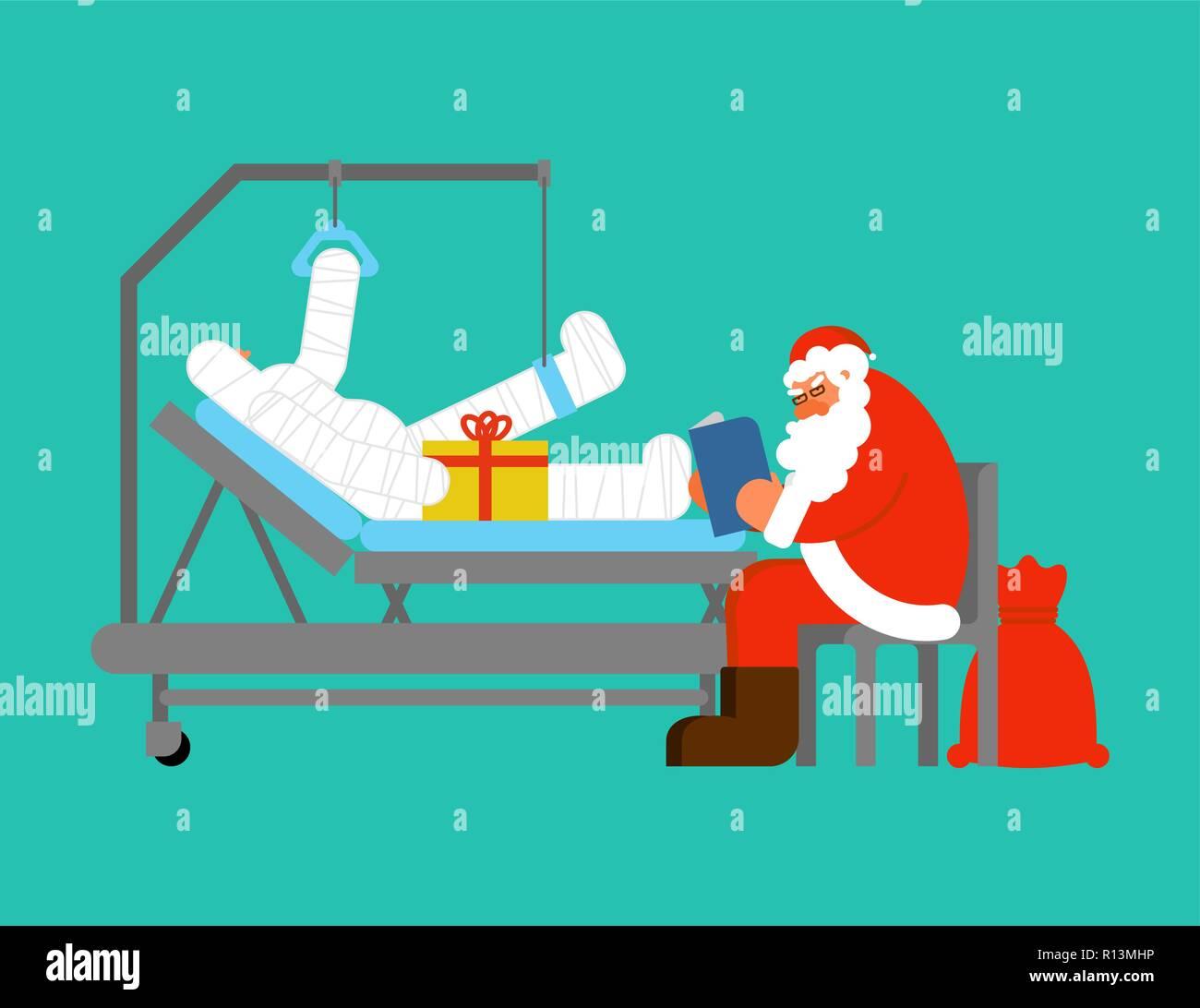 Buch Geschenk Weihnachten.Santa Claus Besuche Im Krankenhaus Großvater Liest Buch Und