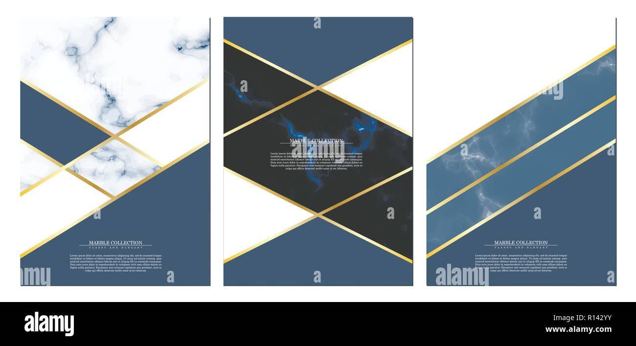 Marmor Sammlung Abstrakte Muster Textur Marine Blau