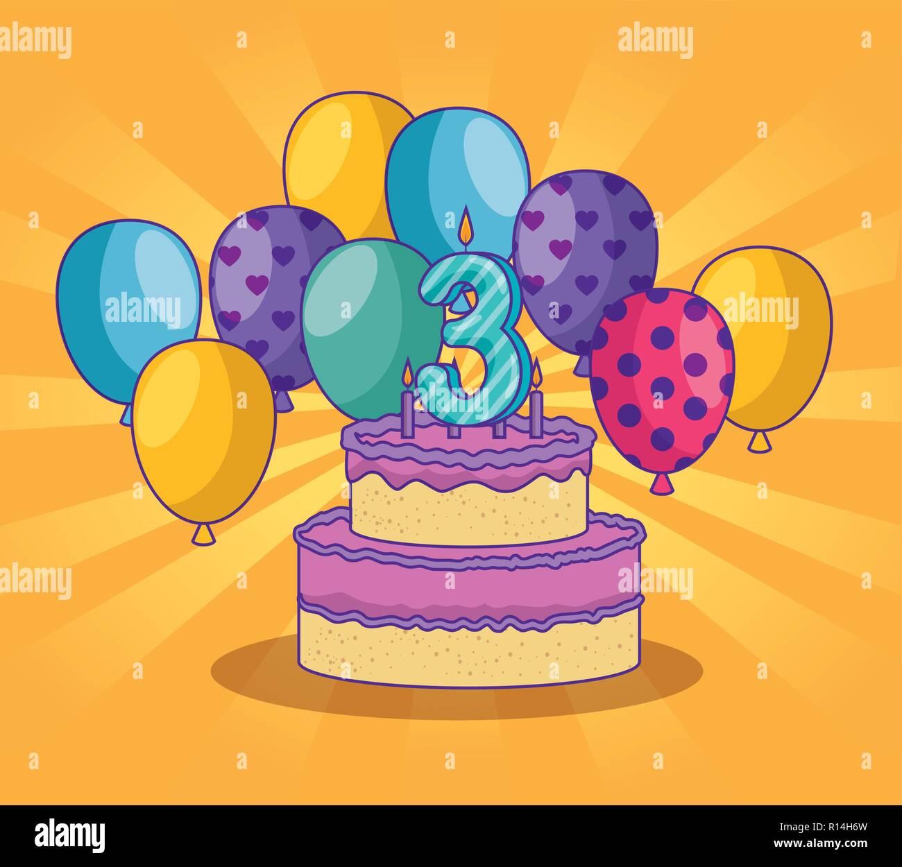 Geburtstag Mit Luftballons Und Kuchen Dekoration Stockbild