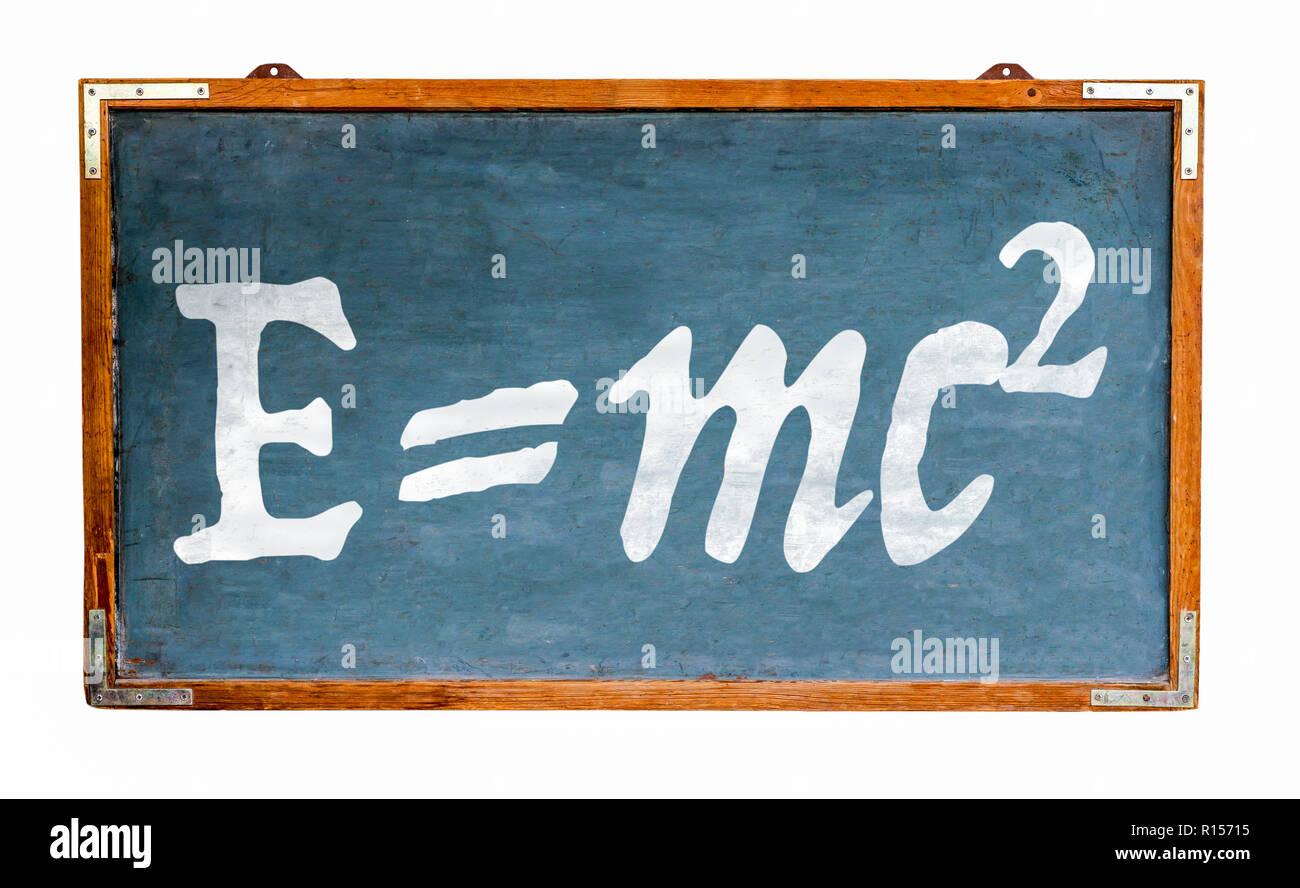 Relativitätstheorie E=mc2 Gleichung Masse Energie Gleichwertigkeit auf Blau alte grungy Vintage breiten hölzernen Tafel retro Tafel mit Verwitterten frame Isola Stockfoto