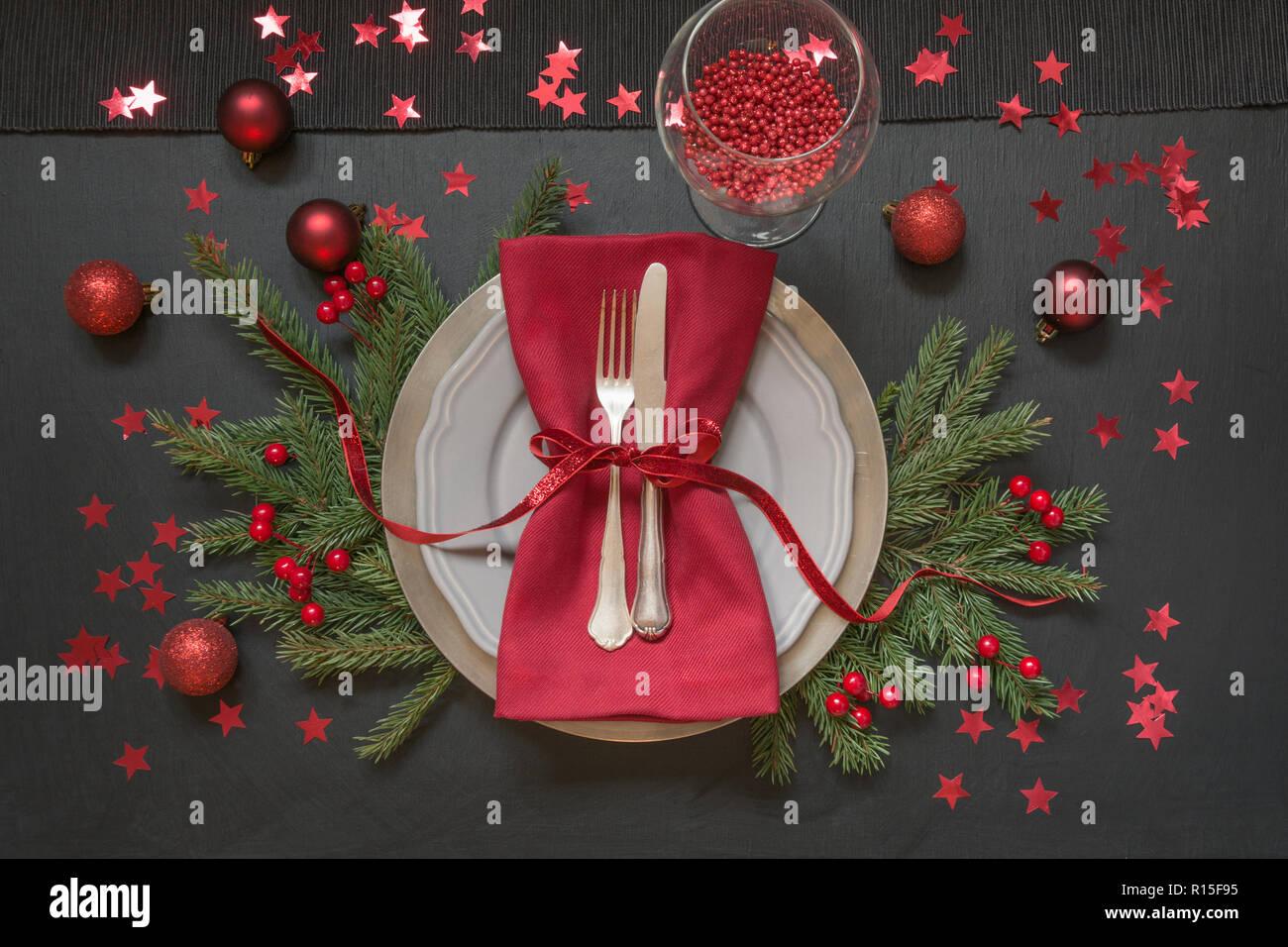 Weihnachten Tischdekoration Mit Rot Auf Schwarz Ansicht Von Oben